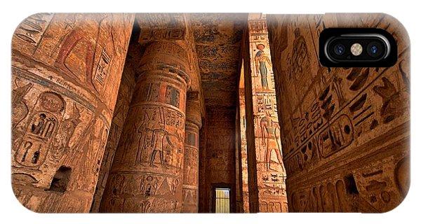 Egyptian iPhone X Case - Heiroglyphs At Medinat Habu. Luxor by Eastvillage Images