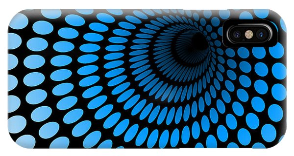 Illusion iPhone Case - Hi Tech Blue Tunnel, Digital Dynamic by Artcalin