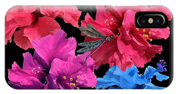 Hibiscus Dragonfly IPhone Case