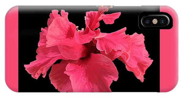Hibiscus Pink In Black IPhone Case