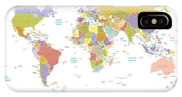 Violet iPhone Case - High Detail World Map.all Elements Are by Ekler
