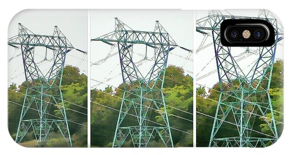 Pylon iPhone Case - High-voltage Power Transmission Towers 1 by Jeelan Clark