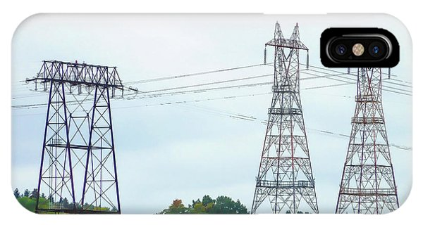 Pylon iPhone Case - High-voltage Power Transmission Towers  2 by Jeelan Clark