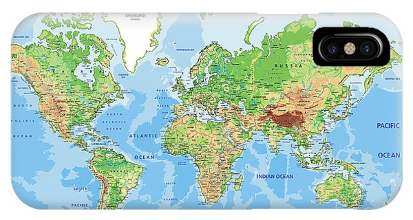 Physical iPhone Case - Highly Detailed Physical World Map With by Bardocz Peter