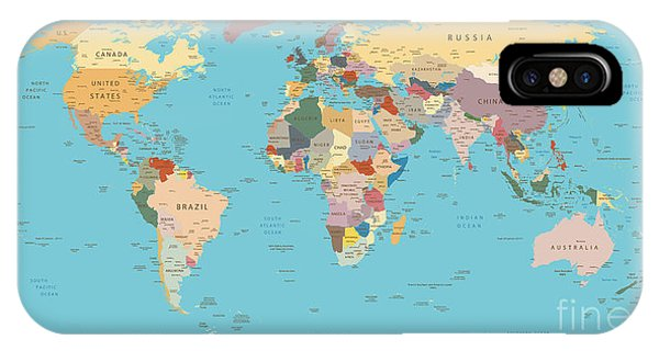 Planet iPhone Case - Highly Detailed World Map With Vintage by Frees