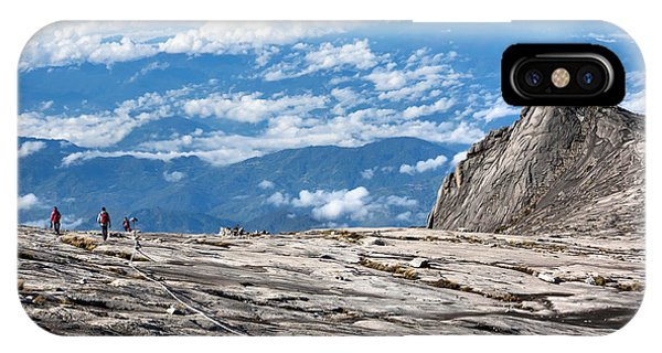 Space iPhone Case - Hikers At The Top Of Mount Kinabalu In by R.m. Nunes