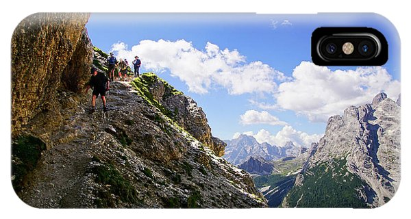 Hikers On Steep Trail Up Monte Piana IPhone Case