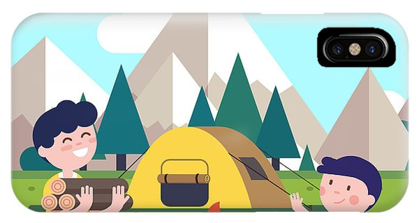 Small iPhone Case - Hiking Kids At The Campfire Near Their by Iconic Bestiary