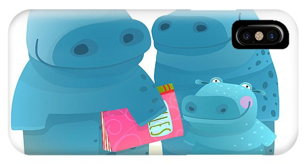 Baby Blue iPhone Case - Hippo Family Mother Father And Kid With by Popmarleo