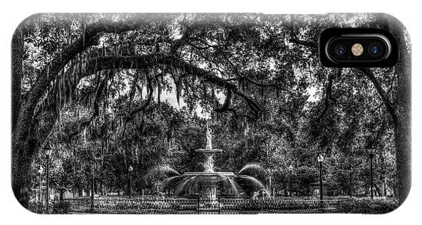 St. Patricks Day iPhone Case - Historic Forsyth Park Fountain B W Forsyth Park Savannah Georgia Art by Reid Callaway
