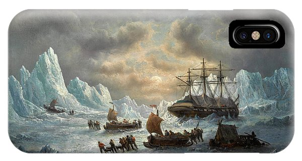 Sled Dog iPhone Case - Hms Resolute In Search Of Sir John Franklin by Francois Musin