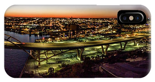 IPhone Case featuring the photograph Hoan Bridge At Dusk Panorama by Randy Scherkenbach