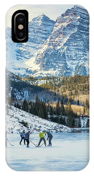 Hockey On Maroon Lake Maroon Bells Aspen Colorado IPhone Case