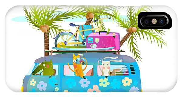 Vector Graphics iPhone Case - Holiday Summer Bus With Beach Tropical by Popmarleo