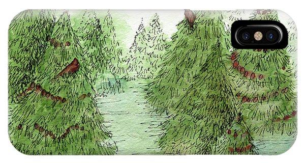 Holiday Trees Woodland Landscape Illustration IPhone Case
