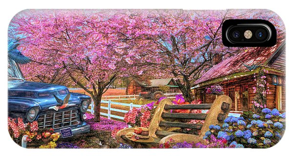 Park Bench iPhone Case - Home Is Where The Heart Is Country Painting by Debra and Dave Vanderlaan