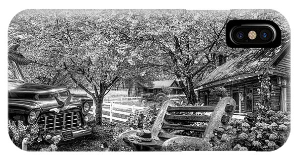 Park Bench iPhone Case - Home Is Where The Heart Is In Black And White by Debra and Dave Vanderlaan