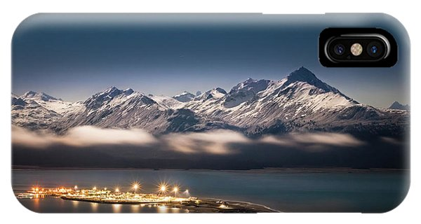Homer Spit With Moonlit Mountains IPhone Case