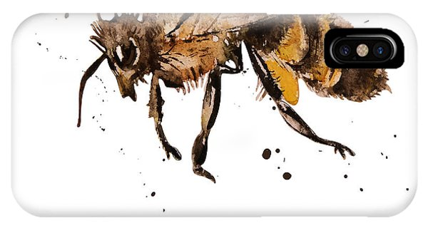 Bee iPhone X Case - Honey Bee, Watercolor, Isolation On A by Knopazyzy