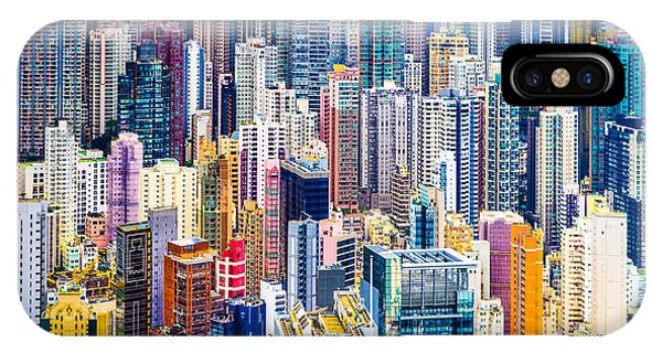 Travel Destination iPhone Case - Hong Kong, China Dense Cityscape Of by Esb Professional