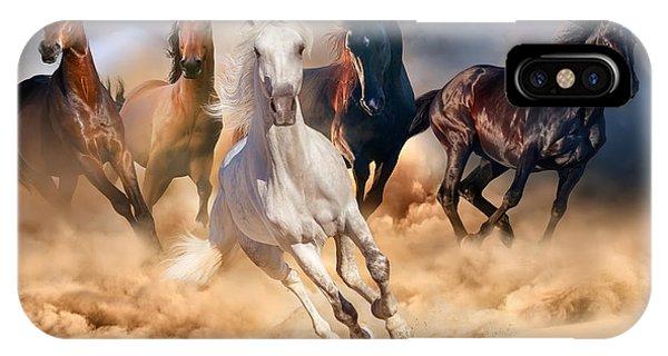 Grey Skies iPhone Case - Horse Herd Run In Desert Sand Storm by Callipso