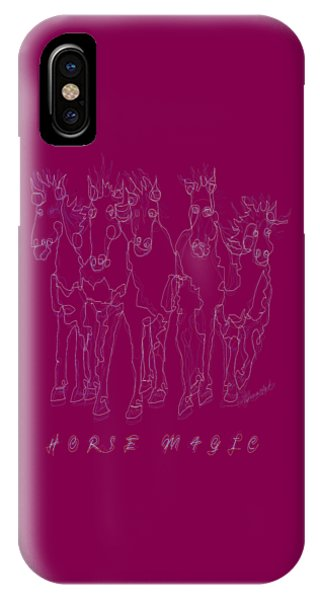 IPhone Case featuring the digital art Horse Magic Line Drawing Horse Silhouette Design by OLena Art Brand