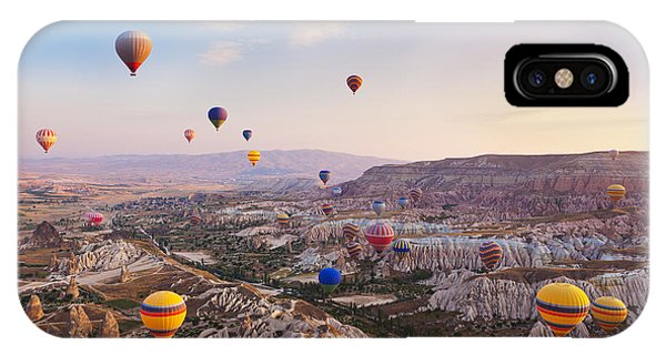 Cappadocia iPhone Case - Hot Air Balloon Flying Over Rock by Tatiana Popova