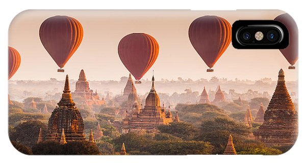 Spirituality iPhone Case - Hot Air Balloon Over Plain Of Bagan At by Lkunl
