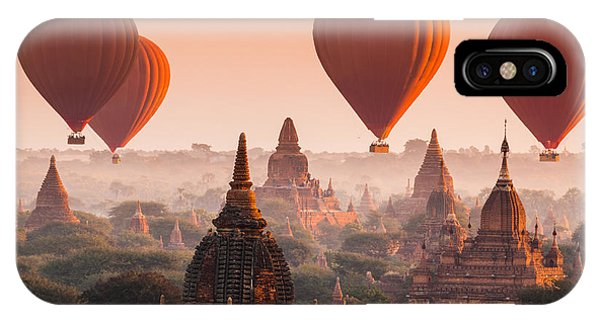 Spirituality iPhone Case - Hot Air Balloon Over Plain Of Bagan In by Lkunl