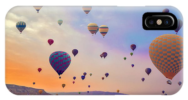 Cappadocia iPhone Case - Hot Air Balloons Flying Over Mountains by Vladyslav Danilin