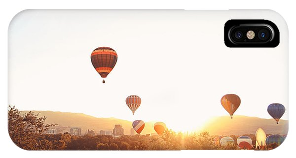 Hot Air Balloons In The Sky During Phone Case by Annette Shaff