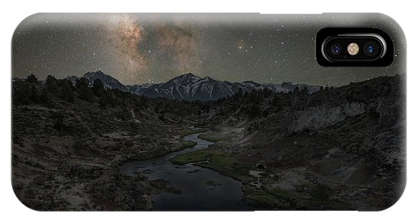 Mammoth Hot Springs iPhone Case - Hot Creek Milky Way  by Michael Ver Sprill
