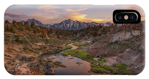 Mammoth Hot Springs iPhone Case - Hot Creek Overlook Sunset  by Michael Ver Sprill