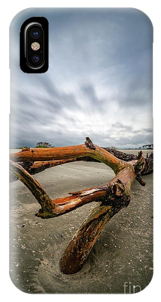 Hurricane Florence Beach Log - Portrait IPhone Case