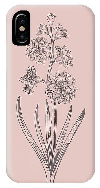Bouquet iPhone X Case - Hyacinth Blush Pink Flower by Naxart Studio