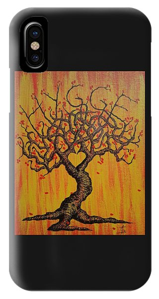 IPhone Case featuring the drawing Hygge Love Tree by Aaron Bombalicki
