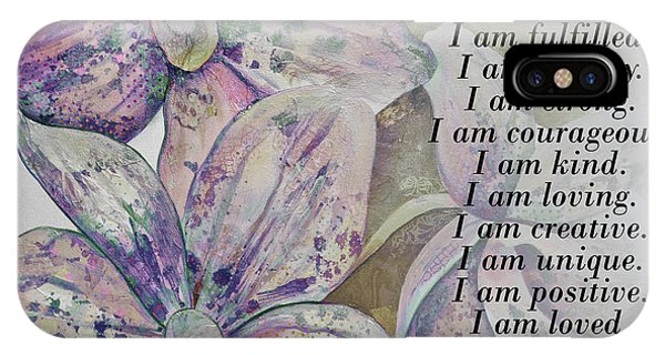 iPhone Case - I Am...positive Affirmation Art In Lavendar And Rose by Shadia Derbyshire