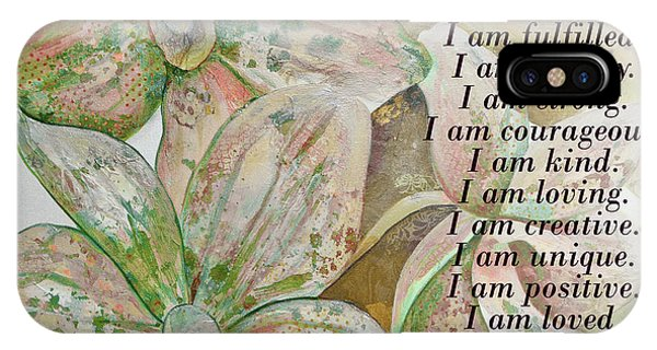 iPhone Case - I Am...positive Affirmation In Coral And Green by Shadia Derbyshire