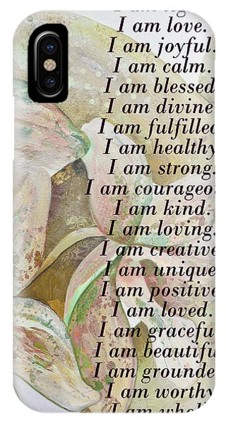 Divine Love iPhone Case - I Am...positive Affirmation In Coral And Green by Shadia Derbyshire
