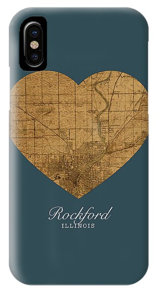 Rockford iPhone Case - I Heart Rockford Illinois Street Map Love Series No 140 by Design Turnpike