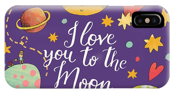 Violet iPhone Case - I Love You To The Moon And Back by Smilewithjul
