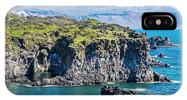 Basalt iPhone Case - Iceland, Arnarstapi, Basalt Rock Cliffs by Miva Stock