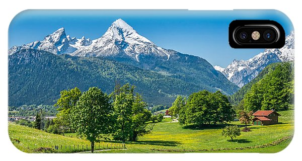 Hiking Path iPhone Case - Idyllic Summer Landscape In The Alps by Canadastock