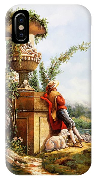 Columns iPhone Case - Il Pastore E Le Sue Pecore by Guido Borelli