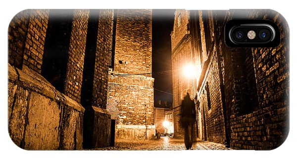 Old Building iPhone Case - Illuminated Cobbled Street With Light by Pyty