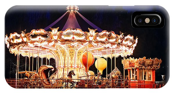 Carousel iPhone Case - Illuminated Retro Carousel At Night by Popovartem.com