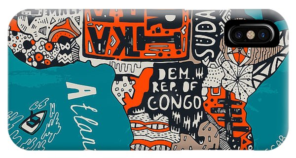 Egyptian iPhone X Case - Illustrated Map Of Africa by Daria i