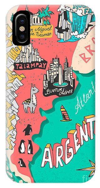 Argentina iPhone X Case - Illustrated Map Of Argentina. Travel by Daria i