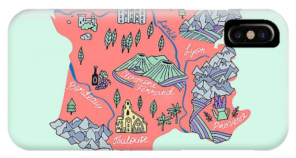 Illustrated Map Of France. Travel Phone Case by Daria i