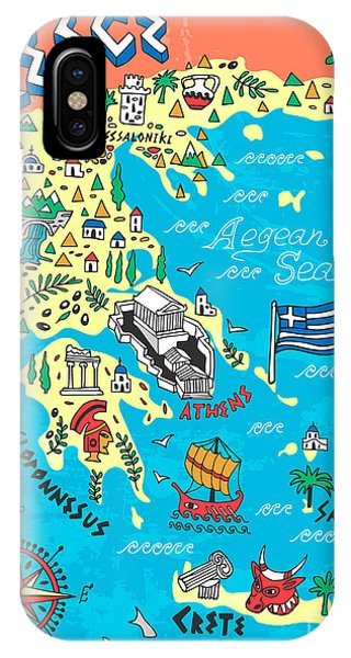 Dolphin iPhone Case - Illustrated Map Of Greece. Travels by Daria i